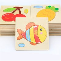 Wholesale Wooden Animal Figures - Children Cartoon Animal Jigsaw Toys Wooden Stereoscopic Puzzle Toy Kid Gift Many Styles 1 35oy C R