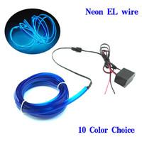 12v el wire car al por mayor-1m-5m Flexible Car EL Wire Neon Light Dance Festival Led strip EL luces con DC-12V Driver 2.3 MM con 6 MM borde de costura