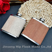 3oz Genuine wood wrapped stainless steel hip flask 2 Color is avaiblable deep wooden and light wooden