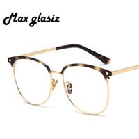8854381e8cd Big Spectacle Metal Frames Women Men Optical Frame Round Transparent Glasses  With Clear Glass Vintage Eyeglasses