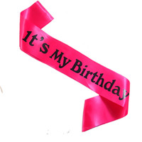 fitas de fita de cetim roxas venda por atacado-12 pcs sua minha faixa de aniversário preto impressão 2018 novo design rosa roxo fita de cetim amarelo meninas princesa feliz festa de aniversário
