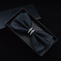 Wholesale red bow tie for men - New Fashion Business Bow Ties for Men Wedding Metal Bow Tie Wine red Wholesale Accessories Necktie Black Butterflies male party