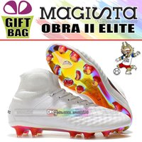 Wholesale mens elite socks - Cheap Original 2018 High Ankle Magista Obra II Elite DF FG Soccer Shoes Mens New Magista ACC Socks Football Boots World Cup Soccer Cleats