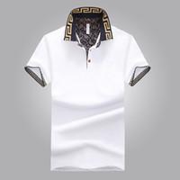 ingrosso camicie maschili disegni-Camicia di vendita calda di design di lusso maschile estate gira-giù colletto maniche corte in cotone camicia uomini Top