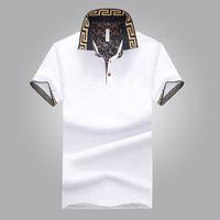 xl hemdentwurf großhandel-Heiße Verkäufe Hemd Luxus Design Männlichen Sommer Umlegekragen Kurze Ärmel Baumwollhemd Männer Top