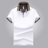 Wholesale men gray shirt - Hot Sales Polo Shirt Luxury Design Male Summer Turn-Down Collar Short Sleeves Cotton Shirt Men Top