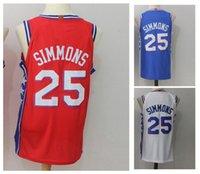 Wholesale ben shirt - 25 Ben Simmons Men's Basketball Jerseys New Season 2018 Fashion Jersey Blue White Red SizeS-XXL Men polo shirt