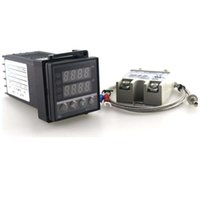 controlador de termopar al por mayor-Controlador de temperatura termostato dual digital PID 220V 10A AC REX-C 100 K termopar SSR programable de energía Envío Gratis