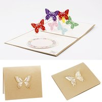 Wholesale valentine butterflies - 2017 Pop Up Greeting 3D Card Butterfly Happy Anniversary Birthday Valentine Christmas MAR10_35