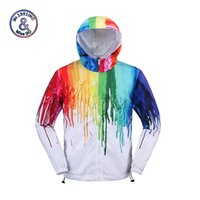 Wholesale Trench Coat Hip Hop - Wholesale- Mr.1991INC Brand Clothing Mens Zipper Hooded Trench Coat 3D Color Paint Hip Hop Windbreaker Sunscreen Thin Jackets