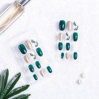 nagelspitze künstlicher fingernagel großhandel-24 Teile / satz Falsche Nagelspitzen Frauen Blatt Muster Grün Nail art Fingernagel Künstliche Gefälschte Falsche Nägel Kunstwerkzeuge