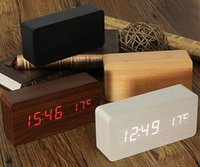 Wholesale Color Change Digital Table Clock - New Wooden LED Alarm Clock+Time date temperature Digital Bamboo Wood Clock Voice Activated Table Clocks Reloj Despertador Wekker