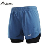 мужские шорты оптовых-ARSUXEO Mens Sports 2 in 1 Running Shorts Active Training Exercise Running New Men's Short Homme Sporting Shorts Men Gym Short