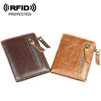 ingrosso caso di copertura id-Titolare della carta di credito degli uomini di carta di credito di identificazione della banca Protezione di portafoglio RFID che blocca copertura della borsa della borsa del cuoio genuino per la borsa del titolare di carta