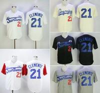 camisas grises negras para hombres al por mayor-Moda hombre Santurce Crabbers Puerto Rico Roberto Clemente Jersey 21 Barato negro blanco gris cosido universidad Béisbol camisas