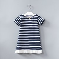 Wholesale Toddler Summer White Dress - Dresses for baby girl 2017 Spring Fall black white striped loose dress toddler dress short sleeve 100%cotton