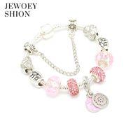 Wholesale murano snake pendants resale online - JEWOEY SHION Pan Charm Bracelet with Round Pendant Cherry Blossom Charm Pink Murano Glass Beads Friendship Bracelet Gift