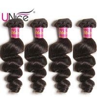 Wholesale Cheap Bulk Weave - UNice Hair 4 Bundles Brazilian Loose Wave Virgin Human Hair Bundle Indian Loose Hair Weaves Cheap Nice Bulk Peruvian Malaysian Remy Wefts