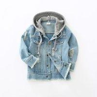 bebeğin kot ceketi toptan satış-Yürüyor Çocuk Denim Ceket Bebek Erkek Giysileri 2018 Sonbahar Çocuk Uzun Kollu Kapşonlu Coat Jaqueta Kot Infantil Manteau Garcon