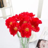 Wholesale Plastic Bouquet - artificial flowers fake flowers mini poppy wedding bouquet wedding flowers pu and plastic flower decorating party and wedding