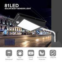 parlak güneş manzarası ışıkları toptan satış-LED Güneş Işık Açık 81Led 1000LM Vücut Sensörü Peyzaj Bahçe Aydınlatma Su Geçirmez Süper parlak Entegre Sokak Lambası IP65