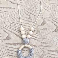 ожерелья вязание крючком бисер оптовых-Let's Make Wood Crochet  Grey Teething Necklace Breastfeeding mom necklace Original Wood And Gift - Toy - Baby Shower