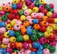 hölzerne perlen halskette schmuck großhandel-Diy Schmuck Halskette Armband Zubehör Farbe grün Pflaumenblüte Holzperlen Phantasie Perlen Punkt von Blumen und Bäumen