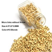 Wholesale Hair Extension Micro Beads Brown - Micro Rings 4.5*3.0*3.0MM 1000Pcs Bottle Light Brown #11 Aluminum Micro Links Link Tools Beads For Hair Extension