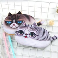 Wholesale lovely stationery for sale - Group buy Creative Cartoon Cat Pencil bags Kawaii lovely flannel Pen box student storage bag Gift coin purse Stationery kids Gift