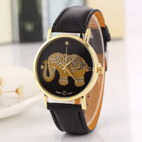 Wholesale handmade leather bracelets watches women for sale - Group buy New Elephant printing handmade watch women PU leather quartz bracelets watches for women fashion dress ladies wristwatch