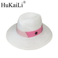 fita branca chapéus venda por atacado-New branco abnormity Sir chapéu de  Palha rosa fita 32f005ad11f