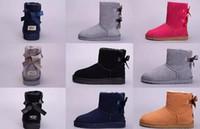 senhora escura venda por atacado-Bota WGG Mulheres Austrália curto curto ajoelhar Ankle Boots Preto escuro cinza vermelho moda menina senhora Inverno Neve ao ar livre sapatos EUA 5-13
