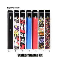Wholesale vapor storm - 100% Original Vapor Storm Stalker Starter Kit Built in 400mAh Battery 1.8ml Cartridge Atomizer Portable Vape Pen Kit Authentic