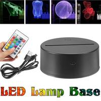 base de luz floral al por mayor-Batería o cable USB Base de la lámpara para luz nocturna 3D LED Control remoto Interruptor táctil 7 colores Novedad Iluminación Lámpara de mesa