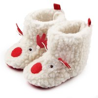 Wholesale cute infant girls shoes for sale - 0 months Winter Warm First Walkers Baby Ankle Snow Boots Infant Cute Cartoon Christmas Deer Style Baby Shoes For Boys Girls