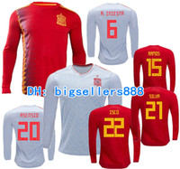 Wholesale spain long sleeve - ASENSIO 2018 World Cup MORATA Spain away home RAMOS red soccer jersey Long sleeves ISCO A.INIESTA SILVA TOP QUALITY Espana football shirt