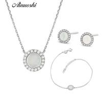 conjuntos de ouro puro de 18k venda por atacado-AINUOSHI Conjuntos de Diamante de Ouro 18 K Branco Puro Feminino Natural Onyx Branco Rodada-shaped Brinco Pingente de Colar Pulseira Conjuntos de Jóias