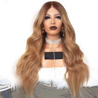 insan vücudu dalgası dolu peruk toptan satış-180 yoğunluklu similation İnsan Saç kadınlar için Tam dantel ön Peruk uzun Vücut Dalga Koyu Kahverengi Ombre Sarışın Sentetik 360 Dantel Frontal Peruk