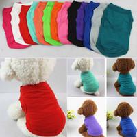 pamuklu köpek giyim toptan satış-Pet T Shirt Yaz Katı Köpek Giysileri Moda Üst Gömlek Yelek pamuklu Giysiler Köpek Yavrusu Küçük Köpek Giysileri Ucuz Pet Giyim WX9-932