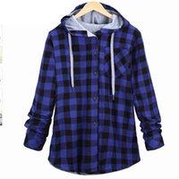 blaue weiße plaidhemd männer groihandel-Plaid Side Zipper Schottland Langarm-Casual-Shirt Hiphop Schwarz-Weiß, Blau und Rot Hoodies Sweatshirts für Männer und Frauen