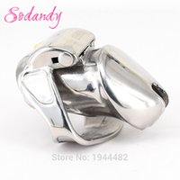 Wholesale Chastity Belts Restraints - SODANDY 2018 Male Chastity Devices Mens Cock Cage Stainless Steel Penis Restraints Locking Cock Ring with Two Kinds of Locks