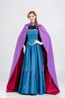 ingrosso linea congelata-Costumi di Halloween Adulti Frozen Queen Princess Anna Cosplay Princess Party Halloween Abiti a maniche corte in costume