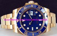 ingrosso orologi a quadranti gialli automatici-Orologio Luxury Watch Cinturino in ceramica quadrante blu oro giallo 116618 Orologio da polso da uomo automatico da uomo CHEST 40mm