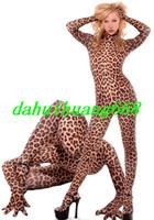 patrones de vestido de lycra spandex al por mayor-Unisex Lycra Spandex Leopard Suit Trajes de traje de gato Unisex Leopard Pattern Traje completo Disfraces de Halloween Disfraces Cosplay DH122