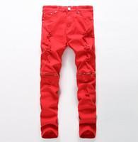ingrosso abbigliamento biker all'ingrosso-All'ingrosso-rappresenti i pantaloni del progettista dell'abbigliamento hanno distrutto il jeans sottile degli uomini jeans strappati biker del denim diritto uomini 28-38