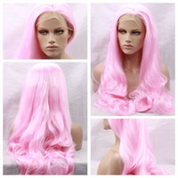 Wholesale wig hot pink long - Cosplay Pink Body Wave Long Wavy Lace Wigs Hot Sexy Party Wigs Heat Resistant Glueless Synthetic Lace Front Wigs for Black Women