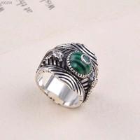 thai fabrik großhandel-Fabrik großhandel zähler Tang Cao sterling silber S925 Malachit ring Thai silber antike relief rose gras hohlkopf manuelle silber ring