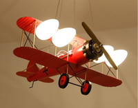 Wholesale aircraft lamps resale online - Retro LED Two wing Aircraft Model Pendant Lights Lighting Children s Room Cartoon Novelty Lamps Boy Bedroom Lighting LLFA