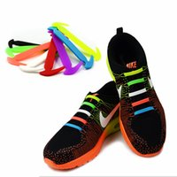 Wholesale 12pcs Sickle Shape Lazy No Tie Shoelaces Unisex Lacing Shoes Multi Colors Elastic Silicone Originality Shoelaces NNA610