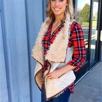 Wholesale women sleeveless sweaters - Sherpa Women Vests Without Hood Lapel Neck Plush Woolen Sleeveless Cardigan Ladies Pocket Waistcoat Warm Coats Tops Sweater Girl PPI